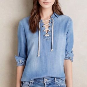 Cloth & Stone lace up Chambray top size S ☕️